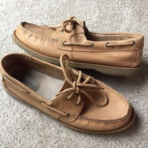 Sperry Top Sider Sahara Brown Two Eye Boat Shoes 8